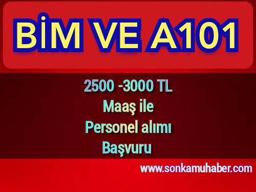 Bim ve A101 ilanı , 2500 -3000TL maaş Personel Alımı