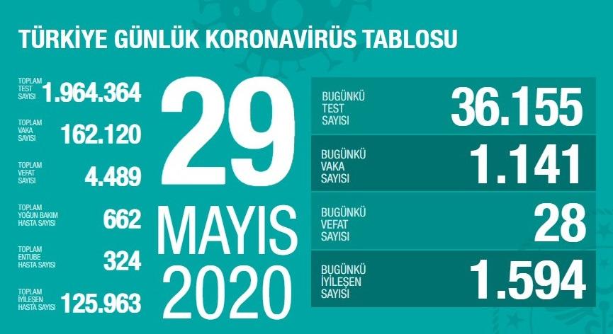 29 Mayıs Türkiye Koronavirüs Tablosu Açıkladı