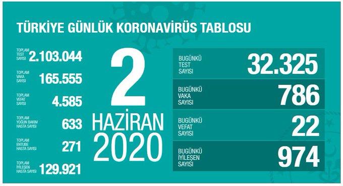 2 Haziran Türkiye Koronavirüs Tablosu Açıkladı