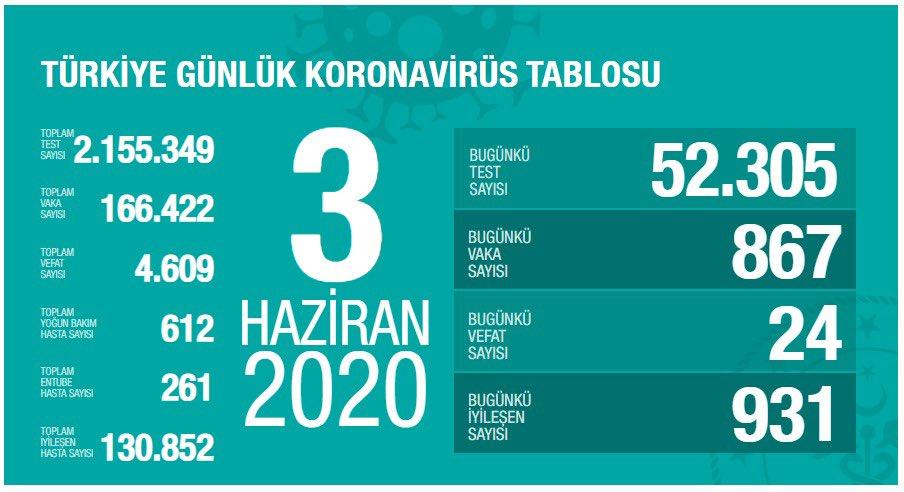3 Haziran Türkiye Koronavirüs Tablosu Açıkladı