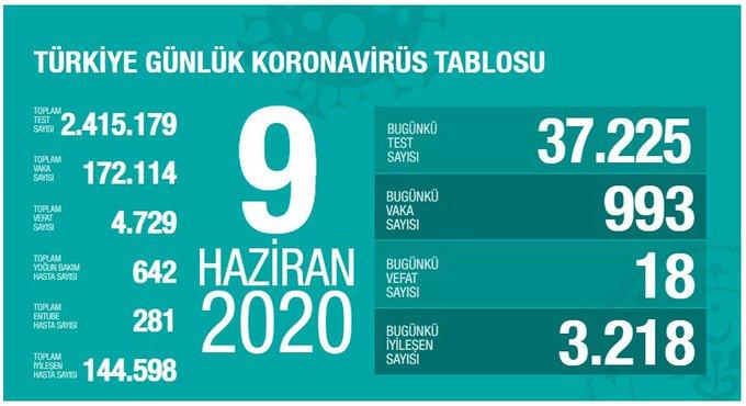 9 Haziran Türkiye Koronavirüs Tablosu Açıkladı