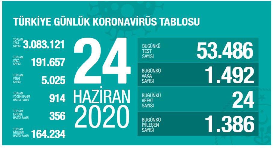 24 Haziran Türkiye Koronavirüs Tablosu Açıkladı