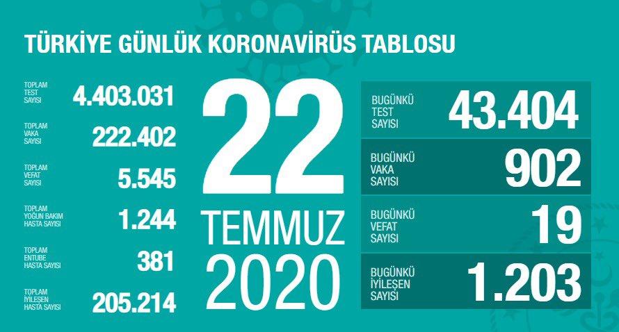 22 Temmuz Türkiye Koronavirüs Tablosu Açıkladı