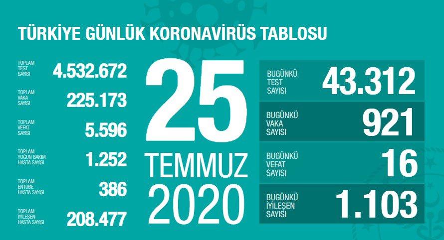 25 Temmuz Türkiye Koronavirüs Tablosu Açıkladı