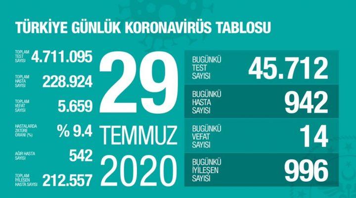 29 Temmuz Türkiye Koronavirüs Tablosu Açıkladı