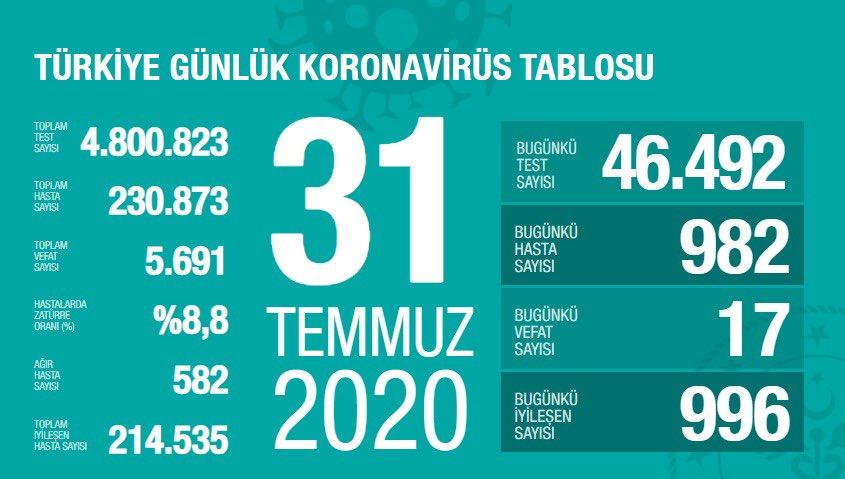 31 Temmuz Türkiye Koronavirüs Tablosu Açıkladı