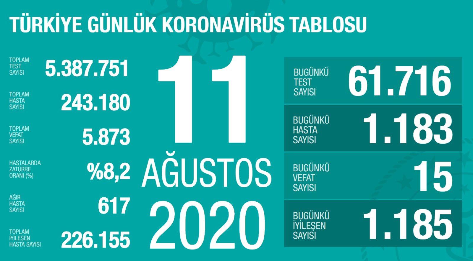 11 Ağustos Türkiye Koronavirüs Tablosu Açıkladı