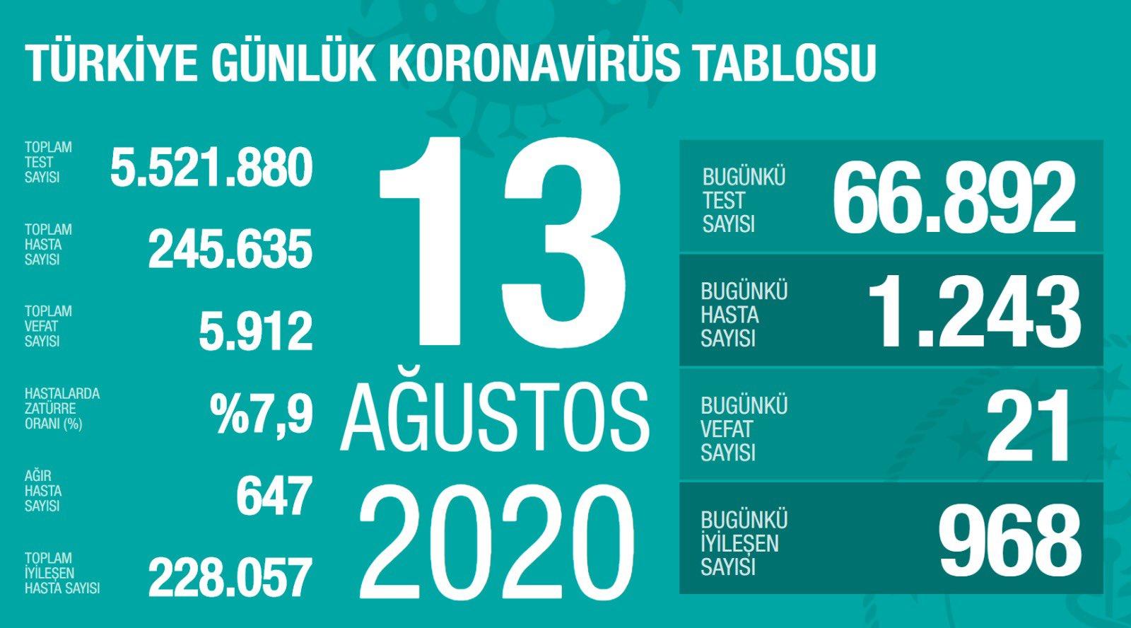13 Ağustos Türkiye Koronavirüs Tablosu Açıkladı
