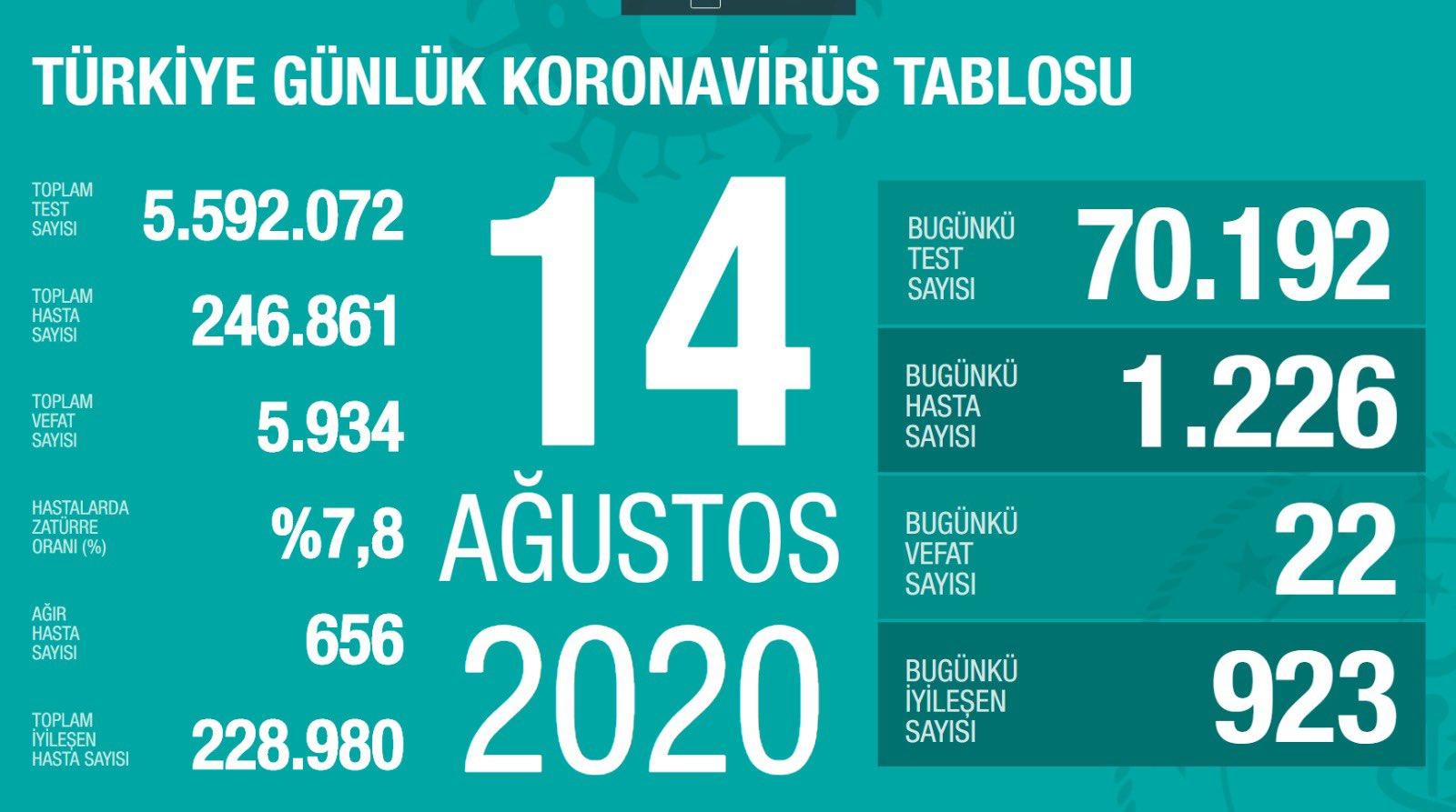 14 Ağustos Türkiye Koronavirüs Tablosu Açıkladı