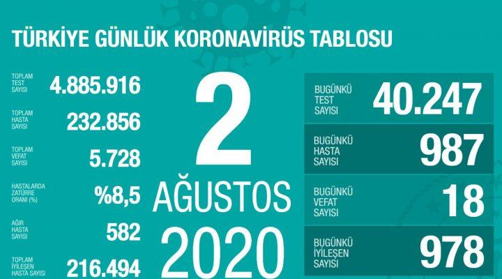 2 Ağustos Türkiye Koronavirüs Tablosu Açıkladı