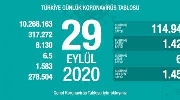 29 Eylül Türkiye Koronavirüs Tablosu Açıkladı
