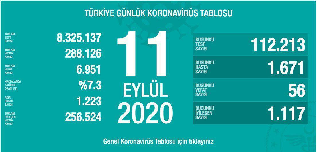 11 Eylül Türkiye Koronavirüs Tablosu Açıkladı