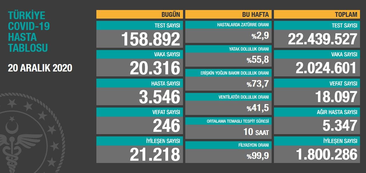 20 Aralık 2020 Türkiye Koronavirüs Tablosu Açıkladı