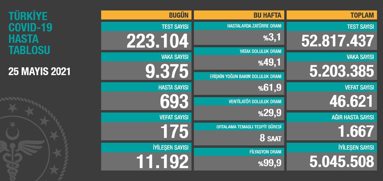 25 Mayıs 2021 Türkiye Koronavirüs Tablosu Açıkladı