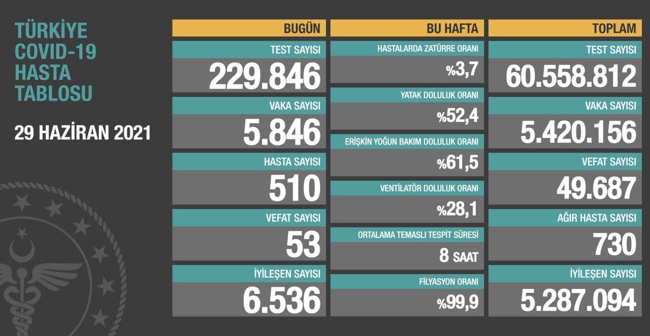 29 Haziran 2021 Türkiye Koronavirüs Tablosu Açıkladı