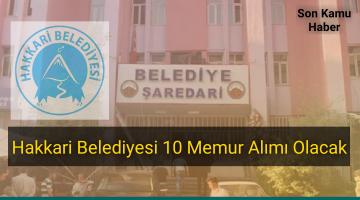Hakkari Belediyesi 10 Memur Alımı Olacak